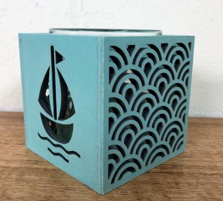 Green Boat Wooden Coastal Square Box Tea Light Holder